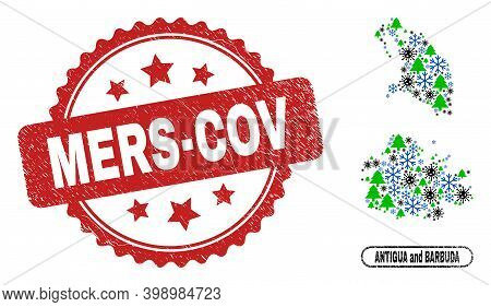 Vector Covid Winter Collage Antigua And Barbuda Map And Mers-cov Corroded Stamp. Mers-cov Stamp Uses