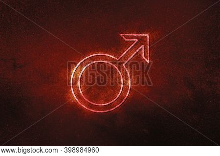Symbol Of Mars, Mars Sign, Astrology Mars Planet,red Symbol, Space Background