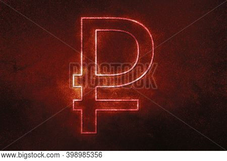 Russian Ruble, Rub Rublecurrency,monetary Currency Symbol,red Symbol, Space Background