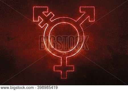 Transgender Symbol,combining Gender Symbol,red Symbol, Space Background
