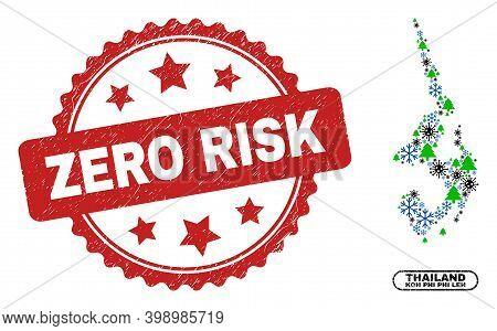 Vector Covid-2019 New Year Mosaic Koh Phi Leh Map And Zero Risk Grunge Stamp Imitation. Zero Risk Wa