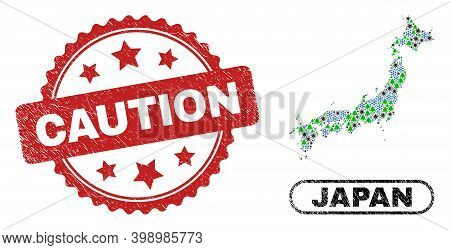Vector Covid New Year Mosaic Japan Map And Caution Dirty Stamp. Caution Imprint Uses Rosette Shape A