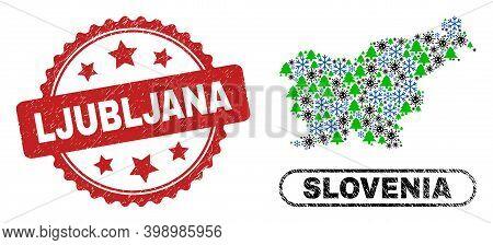 Vector Covid-2019 Christmas Collage Slovenia Map And Ljubljana Rubber Stamp Seal. Ljubljana Seal Use