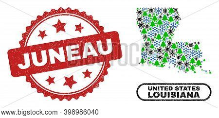Vector Covid Winter Mosaic Louisiana State Map And Juneau Unclean Stamp Seal. Juneau Seal Uses Roset