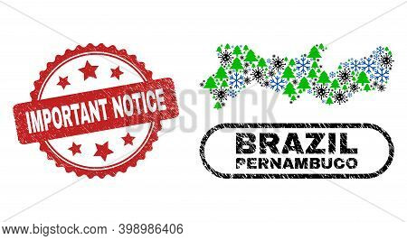 Vector Covid-2019 Christmas Combination Pernambuco State Map And Important Notice Scratched Seal. Im
