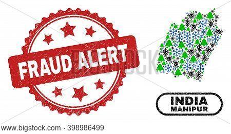 Vector Coronavirus New Year Mosaic Manipur State Map And Fraud Alert Unclean Stamp. Fraud Alert Stam