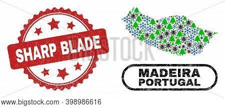 Vector Coronavirus New Year Collage Madeira Map And Sharp Blade Unclean Stamp Seal. Sharp Blade Stam