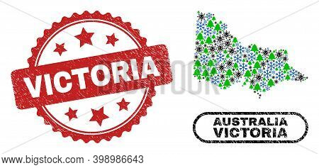 Vector Covid New Year Composition Australian Victoria Map And Victoria Dirty Stamp. Victoria Waterma