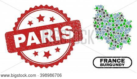 Vector Covid New Year Collage Burgundy Province Map And Paris Corroded Stamp. Paris Seal Uses Rosett