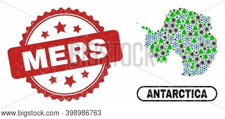 Vector Pandemic New Year Composition Antarctica Continent Map And Mers Grunge Stamp. Mers Watermark