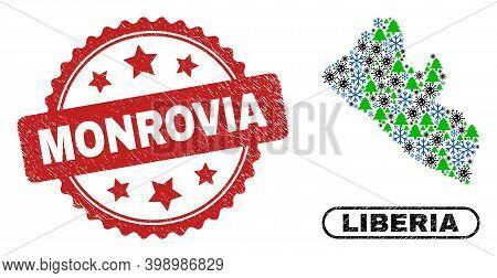 Vector Coronavirus New Year Collage Liberia Map And Monrovia Corroded Seal. Monrovia Stamp Seal Uses