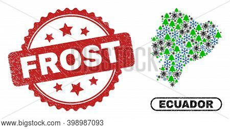 Vector Covid New Year Composition Ecuador Map And Frost Dirty Seal. Frost Seal Uses Rosette Shape An