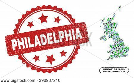 Vector Coronavirus Christmas Collage United Kingdom Map And Philadelphia Grunge Stamp Print. Philade