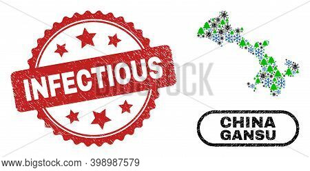 Vector Covid New Year Composition Gansu Province Map And Infectious Dirty Stamp Seal. Infectious Sta