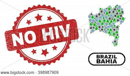 Vector Covid New Year Mosaic Bahia State Map And No Hiv Grunge Seal. No Hiv Imprint Uses Rosette Sha