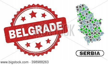 Vector Covid Winter Collage Serbia Map And Belgrade Textured Stamp Seal. Belgrade Stamp Seal Uses Ro