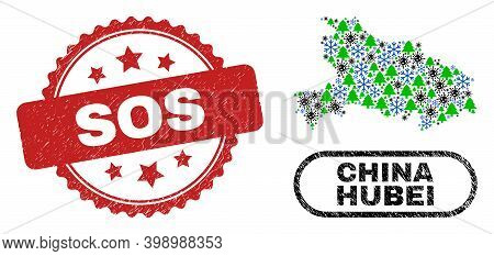Vector Covid New Year Collage Hubei Province Map And Sos Unclean Stamp Print. Sos Imprint Uses Roset
