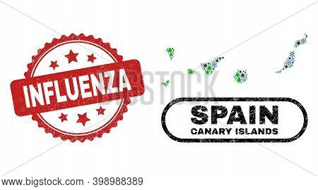 Vector Pandemic New Year Collage Canary Islands Map And Influenza Rubber Stamp. Influenza Stamp Seal