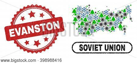 Vector Covid-2019 Winter Collage Soviet Union Map And Evanston Dirty Stamp Seal. Evanston Stamp Uses