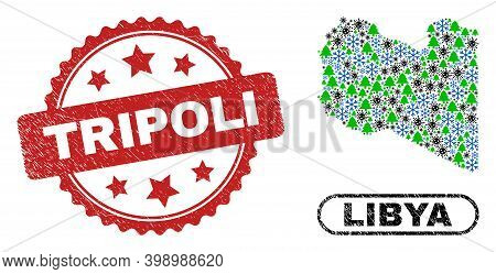 Vector Covid-2019 Winter Mosaic Libya Map And Tripoli Scratched Stamp Imitation. Tripoli Seal Uses R
