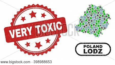 Vector Covid Winter Composition Lodz Voivodeship Map And Very Toxic Unclean Stamp Seal. Very Toxic S