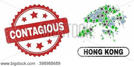 Vector Pandemic New Year Collage Hong Kong Map And Contagious Grunge Stamp Print. Contagious Stamp S
