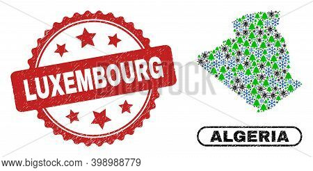 Vector Coronavirus Christmas Combination Algeria Map And Luxembourg Rubber Stamp Seal. Luxembourg St