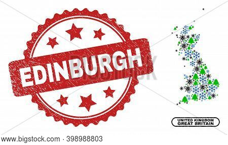 Vector Covid-2019 New Year Composition Great Britain Map And Edinburgh Scratched Stamp Seal. Edinbur