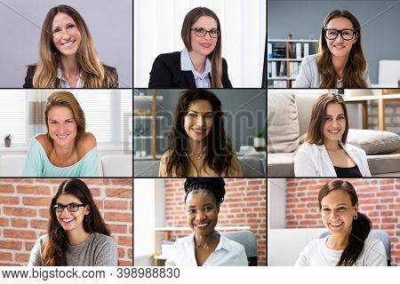 Women Video Conferencing Call Faces Photo Collage Screen