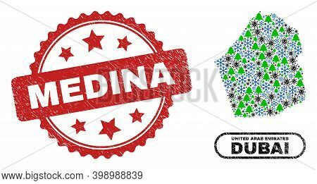 Vector Pandemic Christmas Combination Dubai Emirate Map And Medina Textured Stamp Seal. Medina Stamp