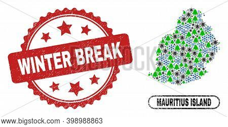 Vector Covid-2019 New Year Combination Mauritius Island Map And Winter Break Dirty Stamp Seal. Winte