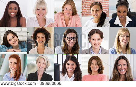 Multicultural Women Faces Photo Collage. Portrait And Avatar Headshots