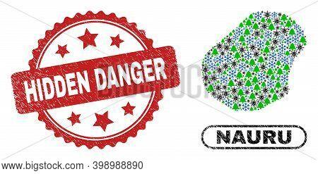 Vector Coronavirus New Year Collage Nauru Map And Hidden Danger Unclean Stamp Seal. Hidden Danger Wa