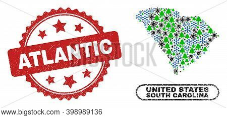 Vector Covid New Year Composition South Carolina State Map And Atlantic Unclean Stamp Print. Atlanti