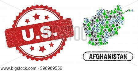 Vector Covid New Year Composition Afghanistan Map And U.s. Unclean Stamp Print. U.s. Watermark Uses
