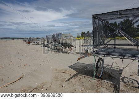 Christchurch New Zealand - November 20 2020; Fishing And Whitebaiting At Waimakariri River Mouth.