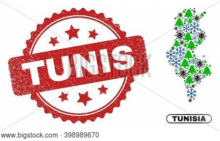 Vector Covid New Year Mosaic Tunisia Map And Tunis Unclean Stamp Imitation. Tunis Stamp Uses Rosette