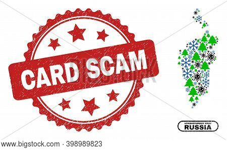 Vector Pandemic New Year Collage Krasnoyarskiy Kray Map And Card Scam Scratched Seal. Card Scam Impr