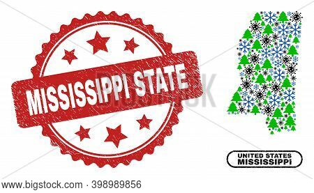 Vector Pandemic New Year Composition Mississippi State Map And Mississippi State Dirty Stamp Imitati