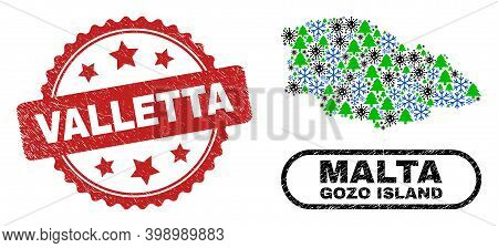 Vector Covid-2019 New Year Mosaic Gozo Island Map And Valletta Rubber Stamp Seal. Valletta Stamp Sea