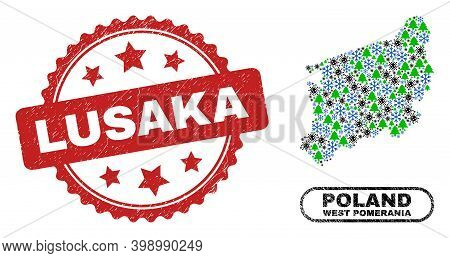 Vector Covid-2019 New Year Mosaic West Pomeranian Voivodeship Map And Lusaka Corroded Stamp Seal. Lu