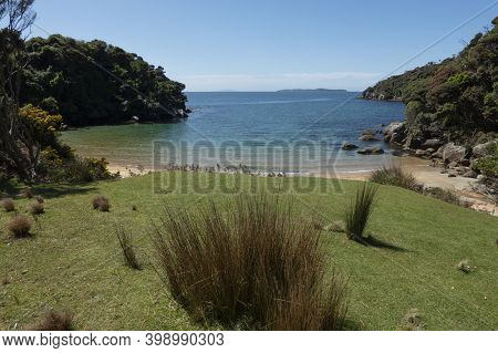 Outlook Over Green Grassy Lawn With Tussock Clump To Idyllic Blue Sea And Sky Near Ackers Point On S