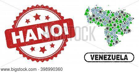 Vector Coronavirus Winter Collage Venezuela Map And Hanoi Unclean Stamp Seal. Hanoi Imprint Uses Ros