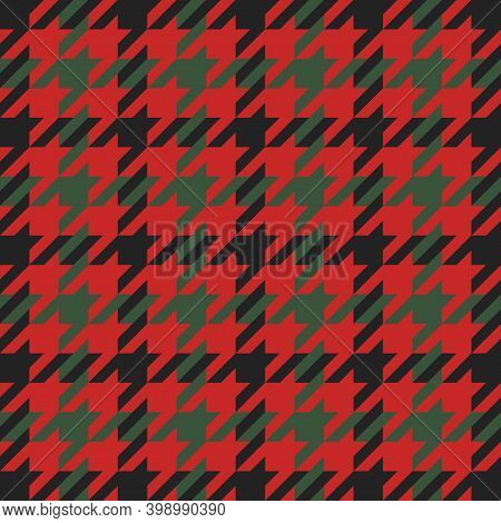 Goose Foot. Christmas Pattern Of Crow Is Feet In Red And Green Cage. Glen Plaid. Houndstooth Tartan