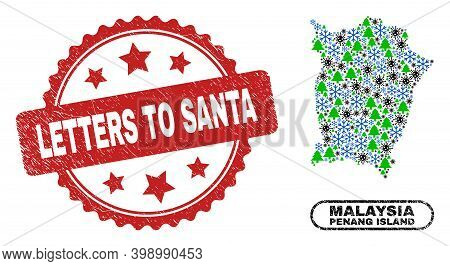 Vector Covid New Year Collage Penang Island Map And Letters To Santa Unclean Stamp Imitation. Letter