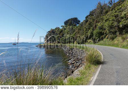 Coastal Road Around Half Moon Bay To Ackers Point On Stewart Island.