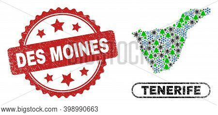 Vector Pandemic New Year Mosaic Tenerife Map And Des Moines Grunge Watermark. Des Moines Seal Uses R