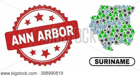 Vector Covid-2019 New Year Mosaic Suriname Map And Ann Arbor Scratched Stamp Seal. Ann Arbor Stamp S