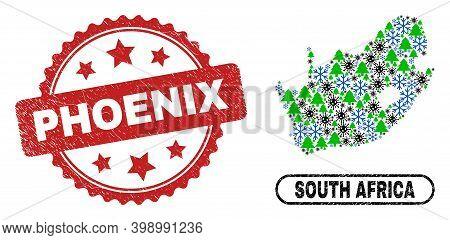 Vector Coronavirus New Year Mosaic South African Republic Map And Phoenix Rubber Stamp. Phoenix Wate