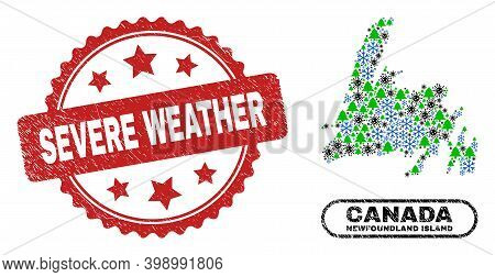 Vector Covid-2019 Christmas Combination Newfoundland Island Map And Severe Weather Corroded Stamp Im